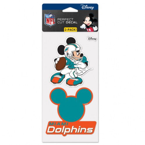 Miami Dolphins Mickey Perfect Cut Decal 2-pack