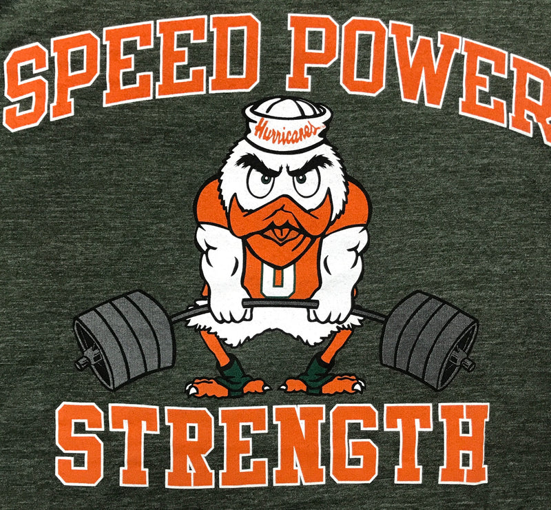 Miami Hurricanes Speed Power Strength Tee - Green
