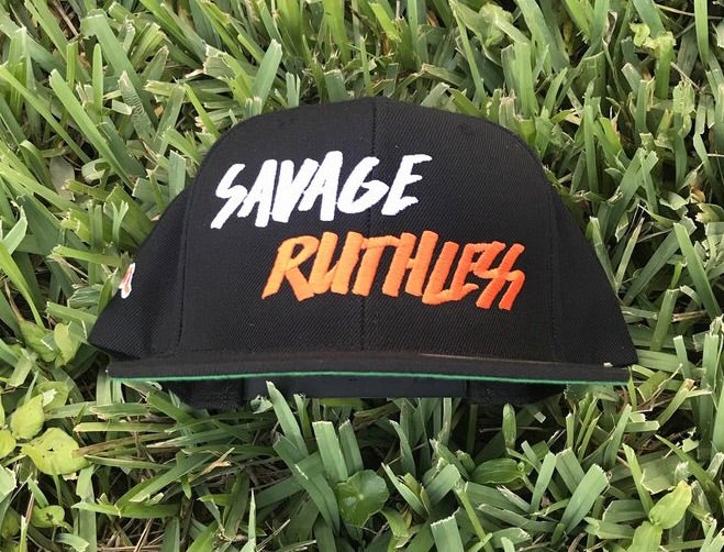 Duh Nation Savage Ruthless Snapback Hat - Black