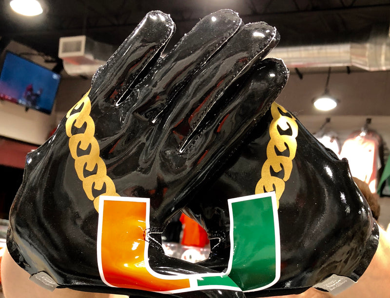 Miami Hurricanes adidas Adizero 5-star 7.0 Football Turnover Chain Gloves - Black