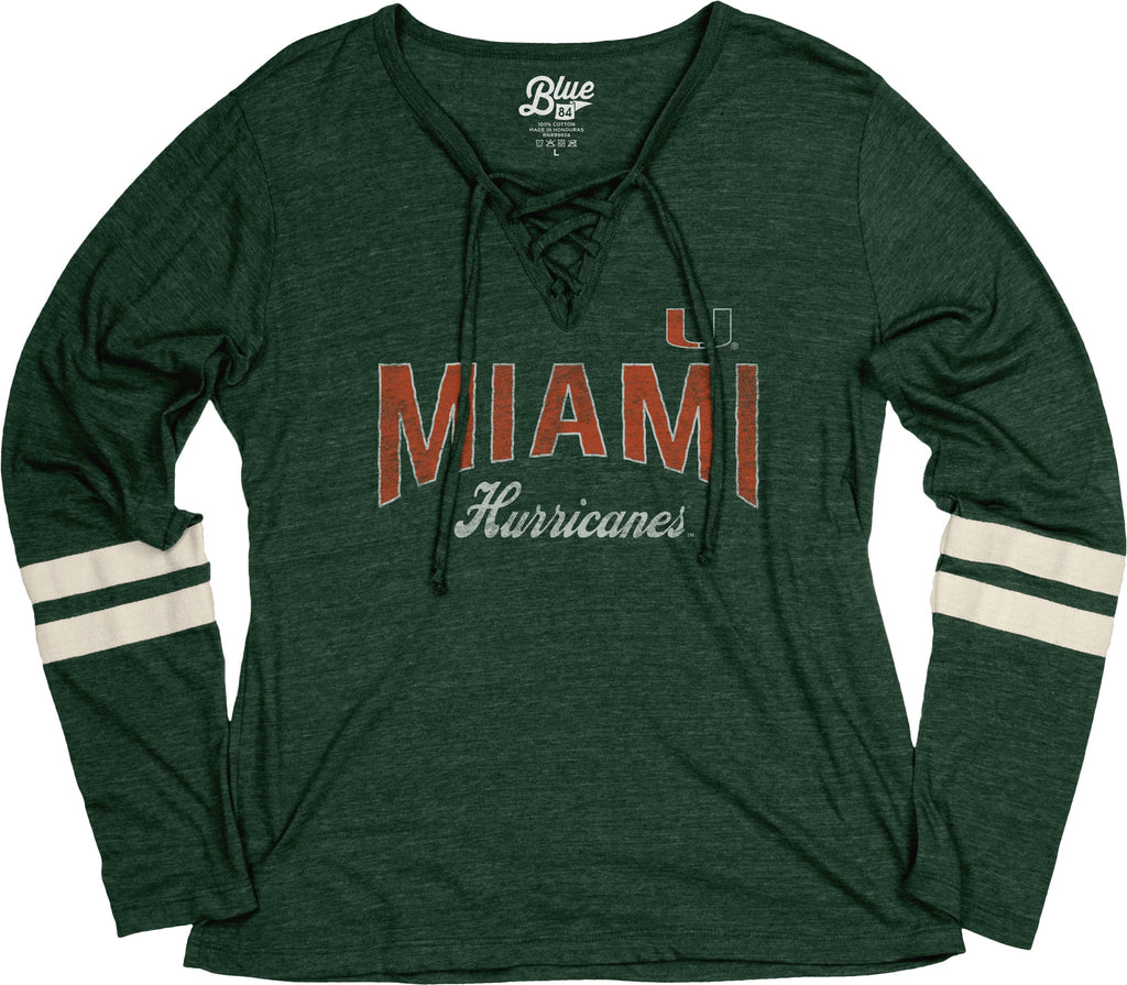 Miami Hurricanes Women's Lydia Lace Up Tri-Blend L/S Crew - Green