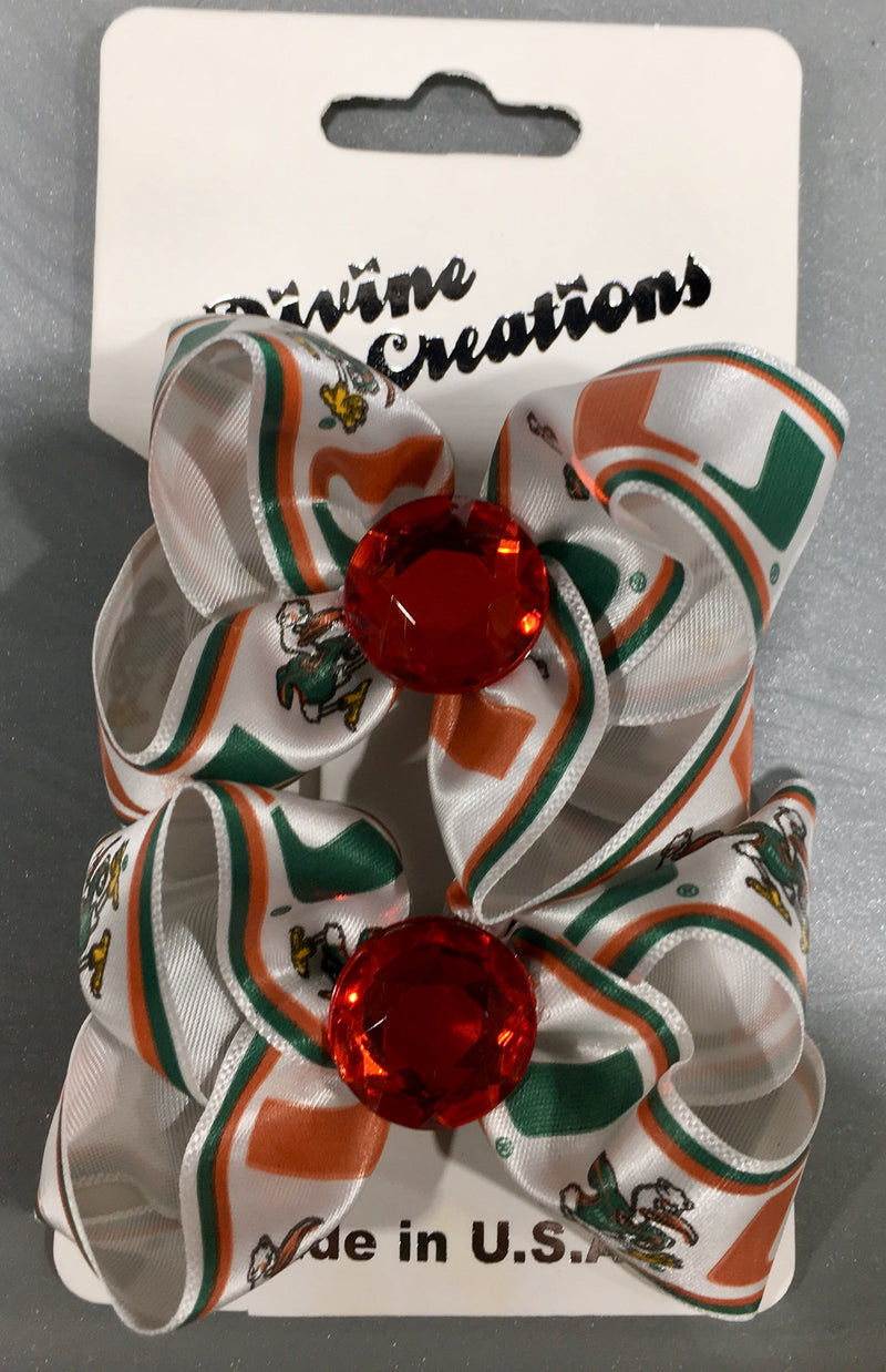 Miami Hurricanes Crown Jewels Hair BowClips - Pair