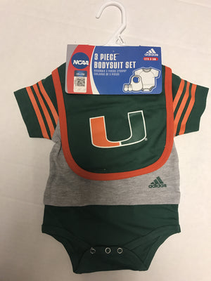 Miami Hurricanes adidas Infant 3 Piece Bodysuit Set - Gray - CanesWear at Miami FanWear  CanesWear at Miami FanWear CanesWear at Miami FanWear