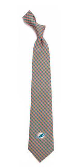 Miami Dolphins Gingham Neck Tie
