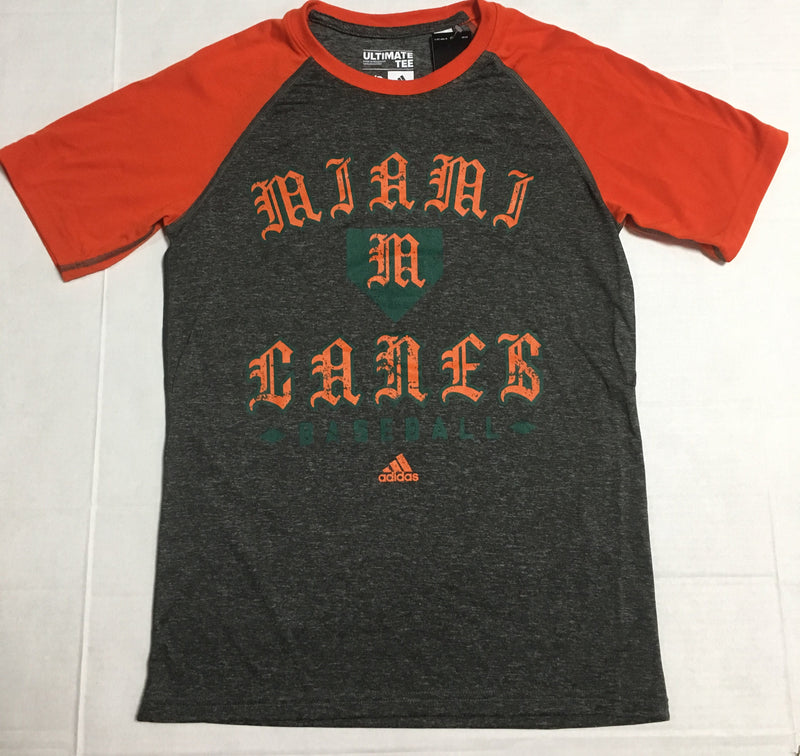 Miami Hurricanes adidas Baseball Raglan Performance T-Shirt