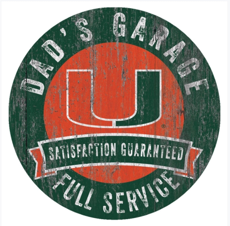 Miami Hurricanes Dad's Garage Round Wooden Sign - 6