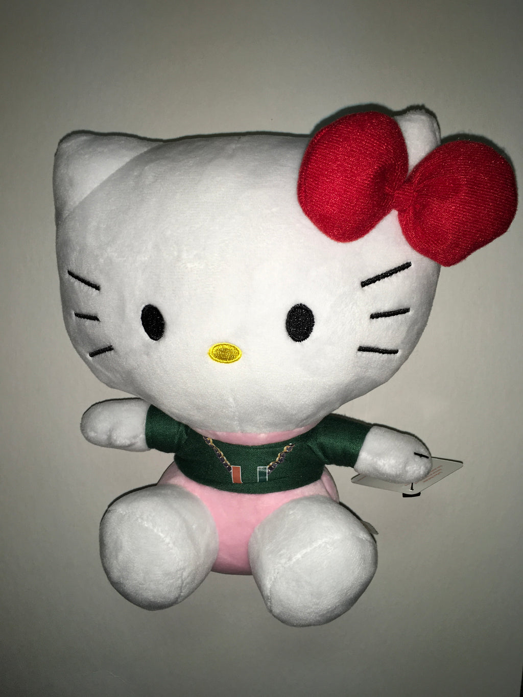 "Miami Hurricanes Hello Kitty 11"" Green Turnover Chain Plush"
