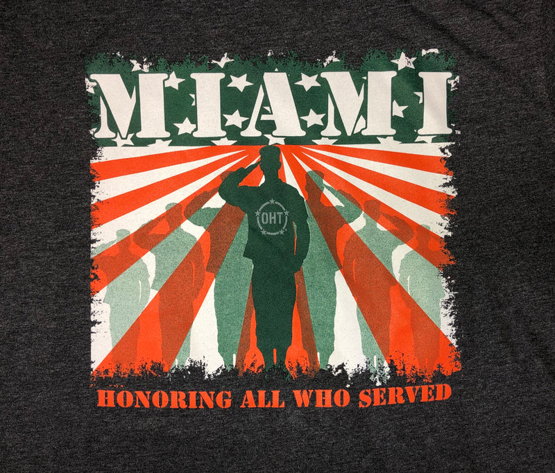 Miami Hurricanes Colosseum OHT Salute the Flag T-Short - Charcoal
