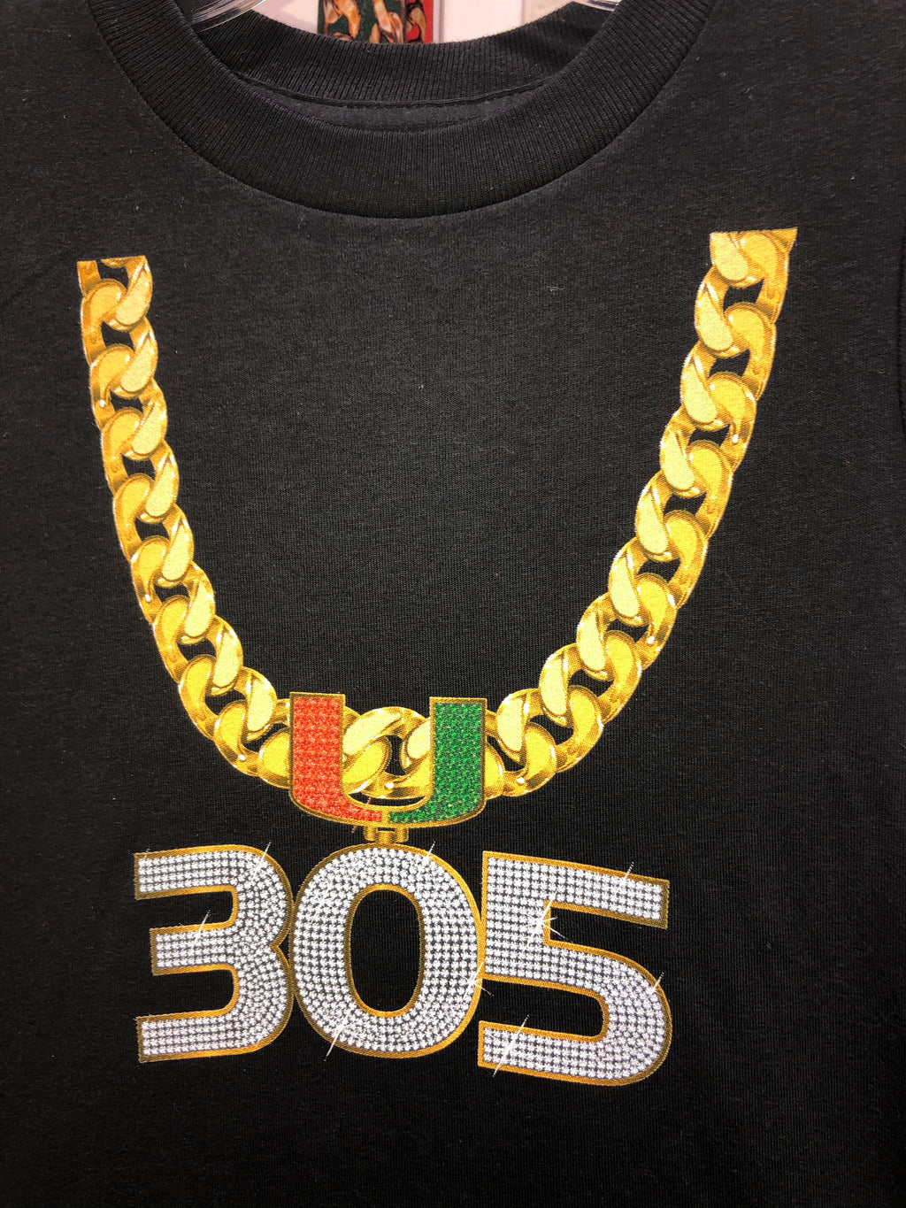 Miami Hurricanes Youth 305 Turnover Chain T-Shirt - Black