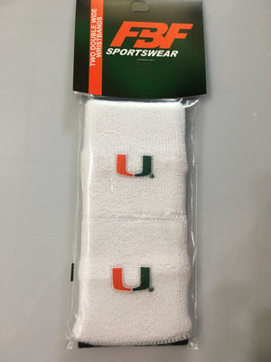 Miami Hurricanes Double Wide Wristbands -White - CanesWear at Miami FanWear Accessories FBF Originals CanesWear at Miami FanWear