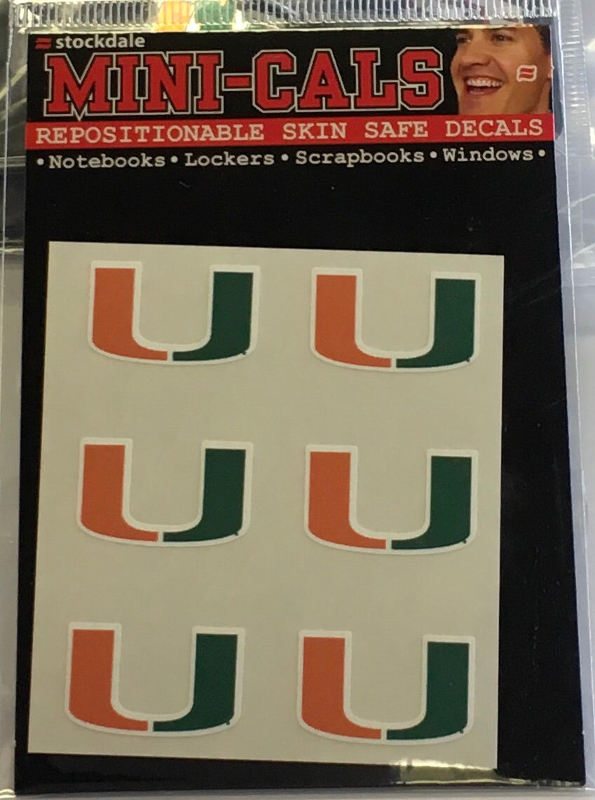 Miami Hurricanes U Face Decals - 6 Pack