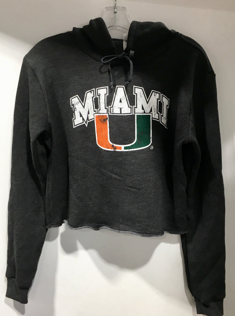 Miami Hurricanes Women's Pullover Miami U Crop Top Hoodie - Grey