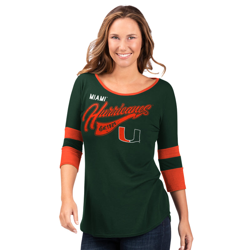 Miami Hurricanes G-III 2019 Women's 3/4 Sleeve Shirt - Green