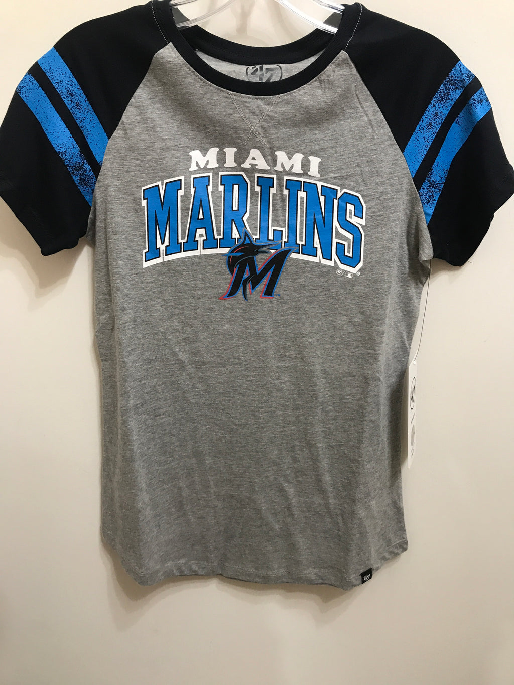 Miami Marlins Slate Grey Fly Out Raglan Women's Tee