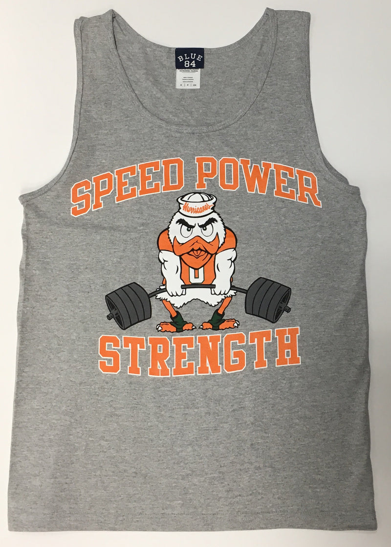 Miami Hurricanes Speed Power Strength Tank Top - Gray