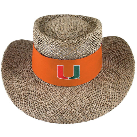 9b5508c9507 Miami Hurricanes Natural Twisted Straw Gambler Hat - Tournament - Orange.    39.95. Miami Hurricanes Women s Paper Woven Sun Hat - Madeline