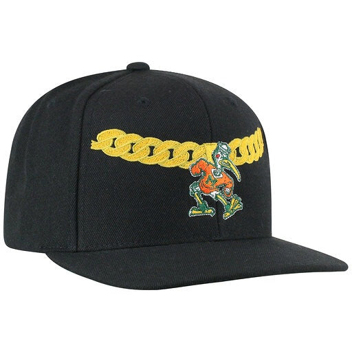 Miami Hurricanes Turnover Chain SnapBack Hat -  Black