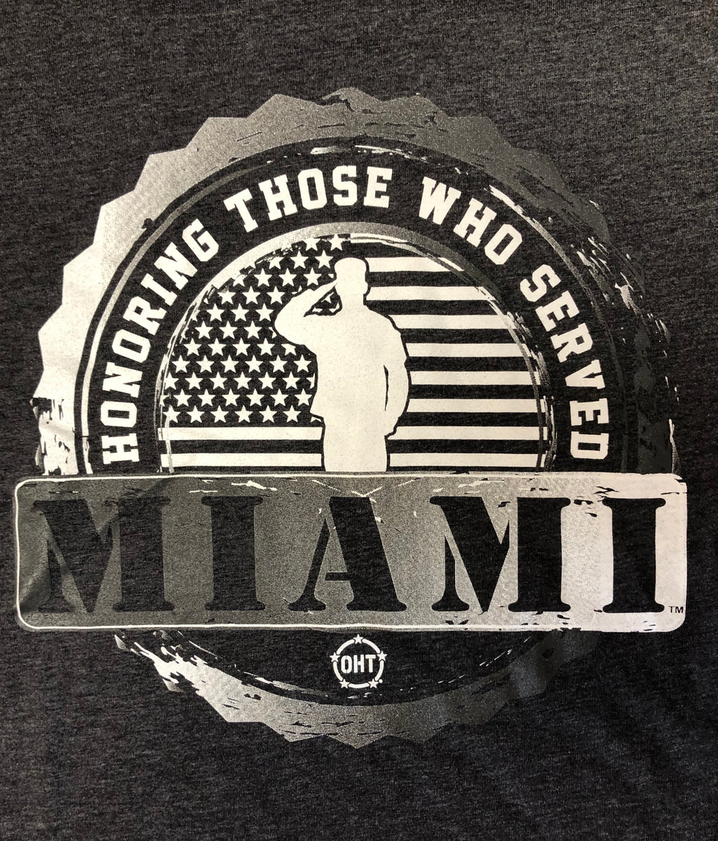 Miami Hurricanes OHT Honoring Those Who Served T-Shirt - Charcoal