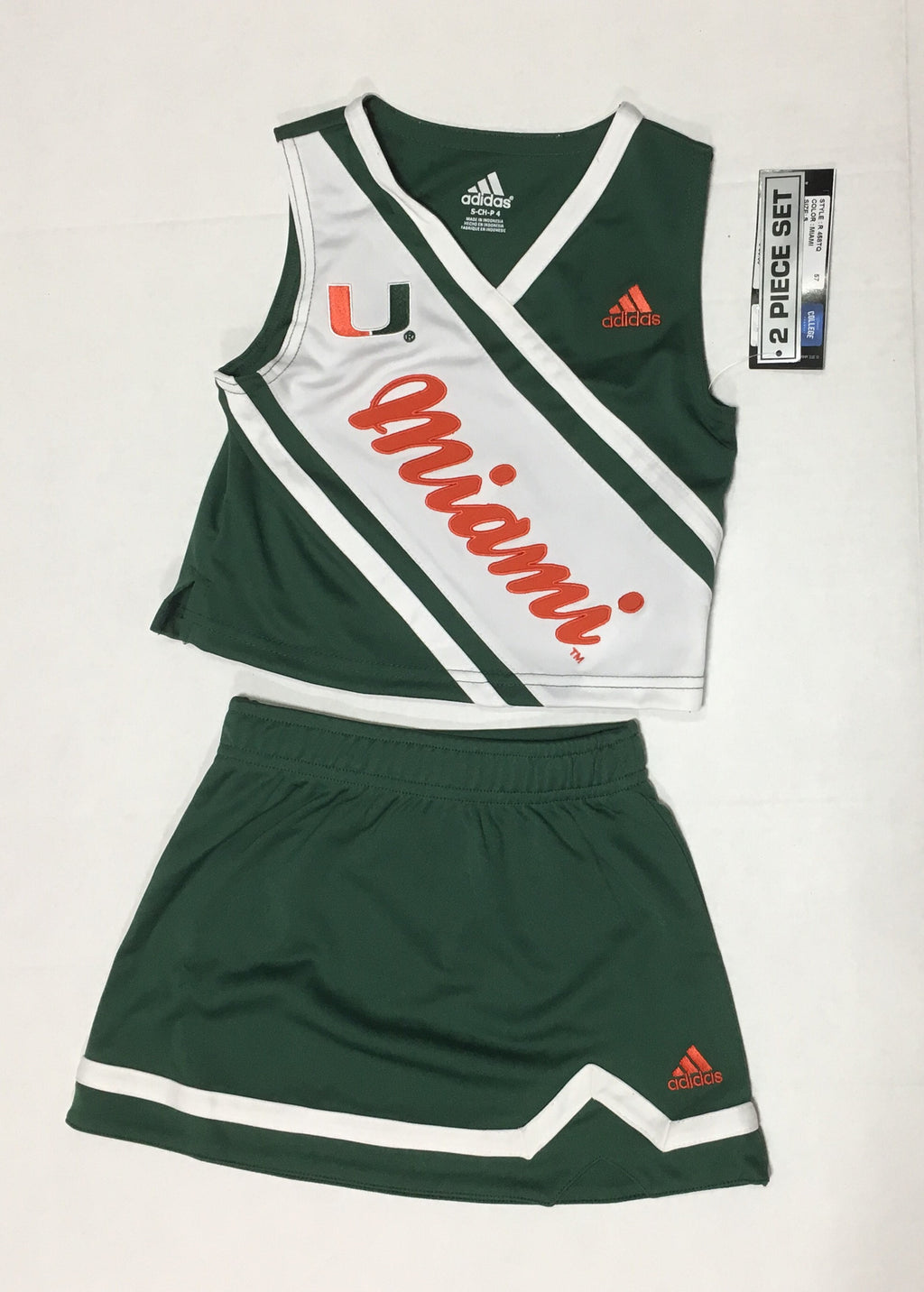 Miami Hurricanes Kids 2 Piece Cheerleader Set - Green - CanesWear at Miami FanWear Kid's Apparel Adidas Group CanesWear at Miami FanWear
