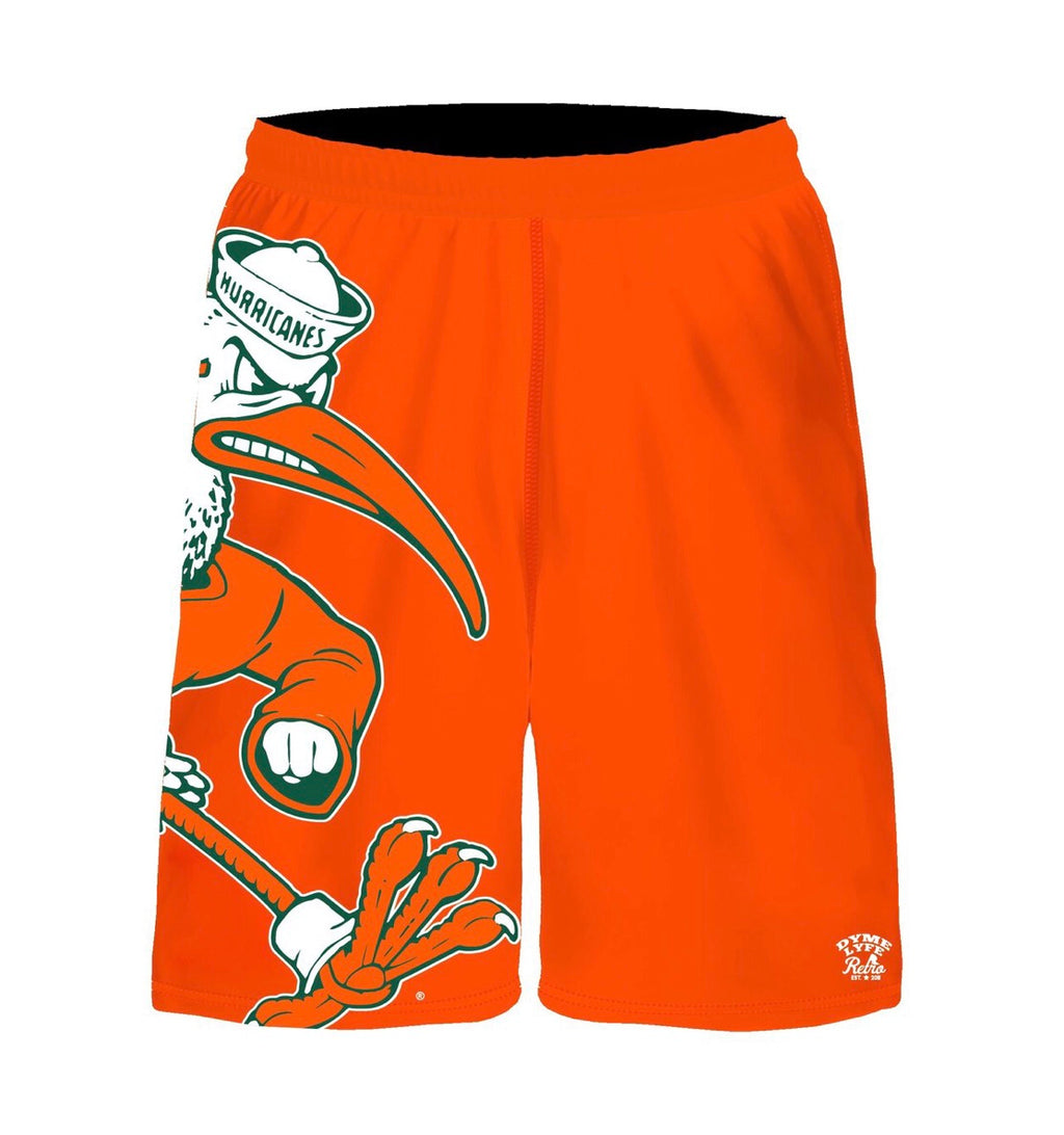 Miami Hurricanes Dyme Lyfe Vintage Sebastian Shorts - Orange