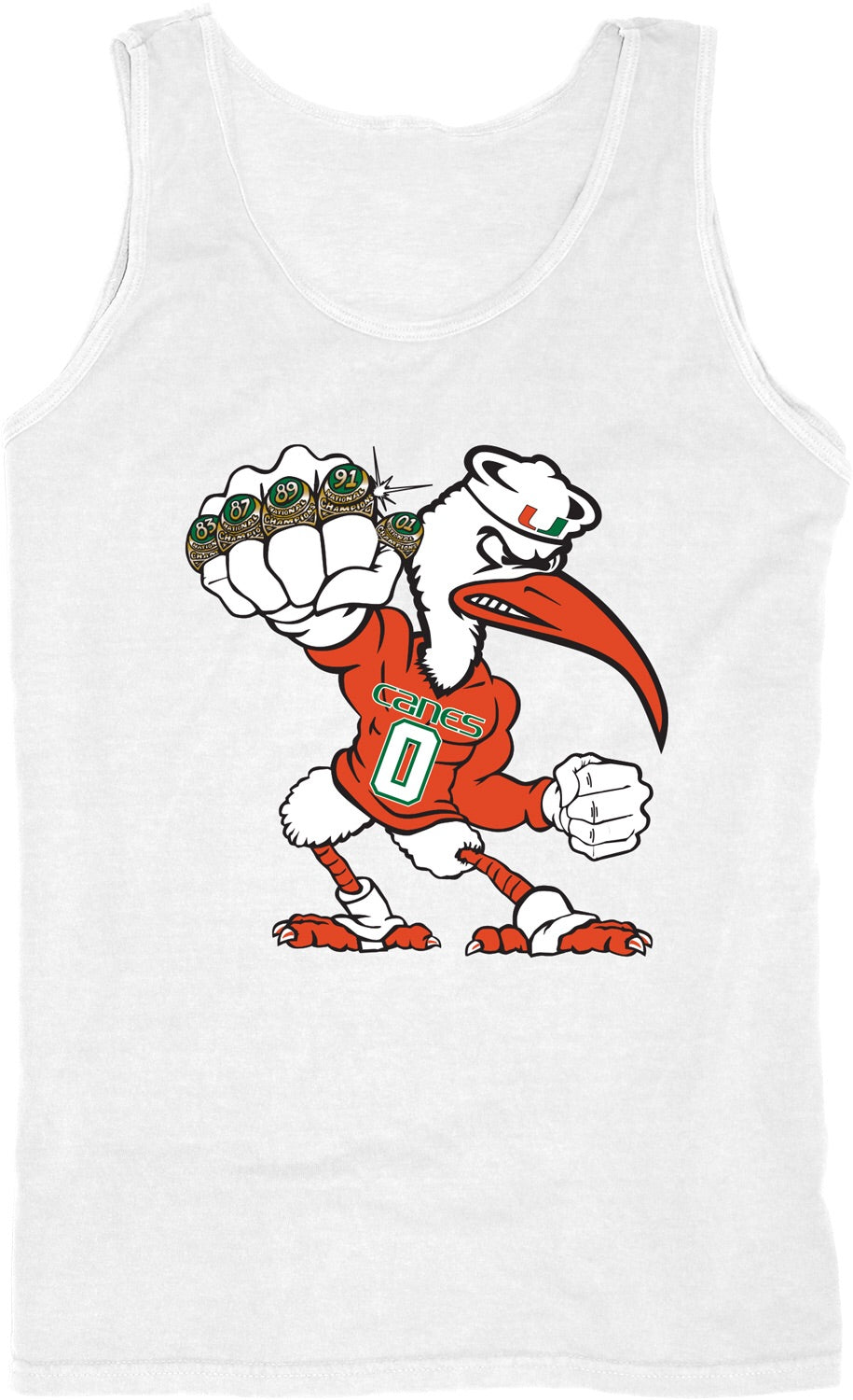 Miami Hurricanes Sebastian 5 Rings Pow Tank Top - White