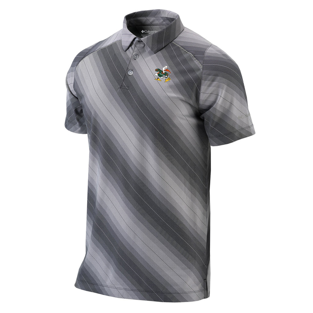 Miami Hurricanes Columbia Omni Freeze Zero Side Swipe Polo - Black