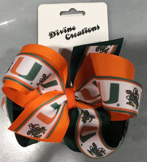 Miami Hurricanes Logo Overlap King Hair Bow Clip