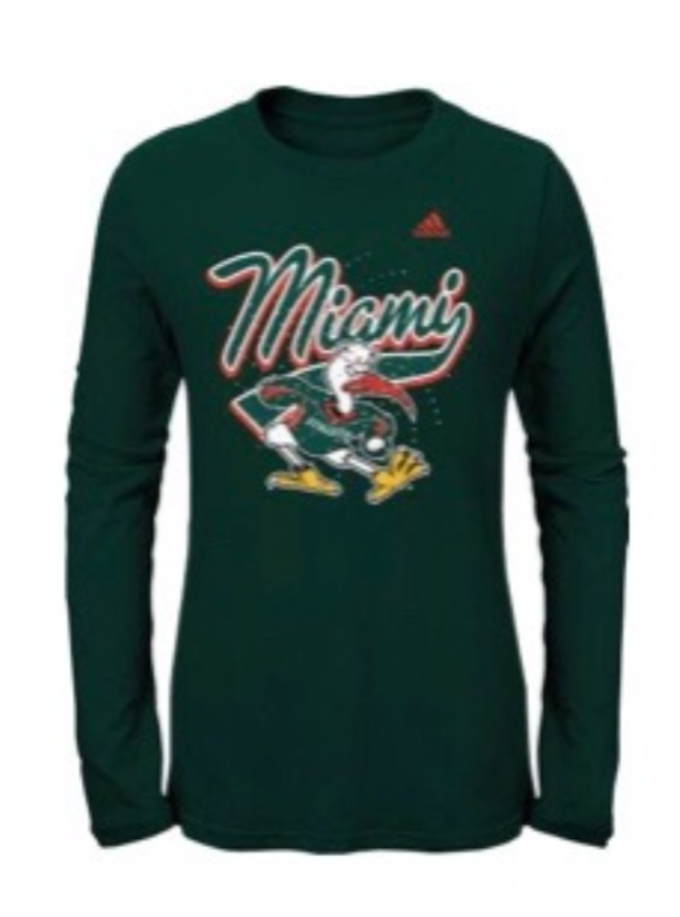 Miami Hurricanes adidas Girls L/S Ibis with Gems - Green