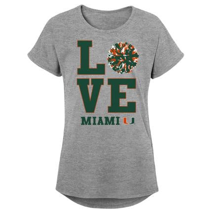 "Miami Hurricanes Girls Dolman ""POM POM LOVE"" T-Shirt"