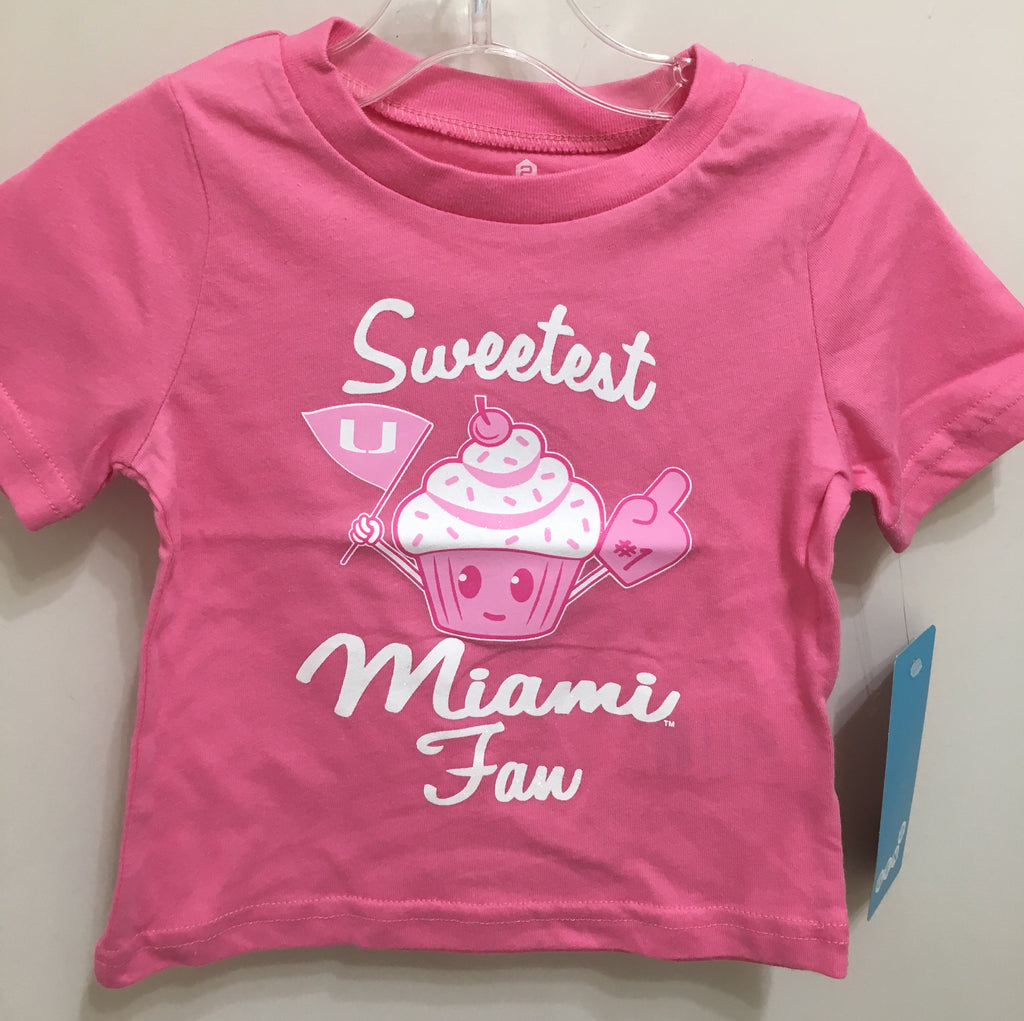 Miami Hurricanes Girl's Infant/Baby Sweetest Miami Fan T-Shirt - Pink