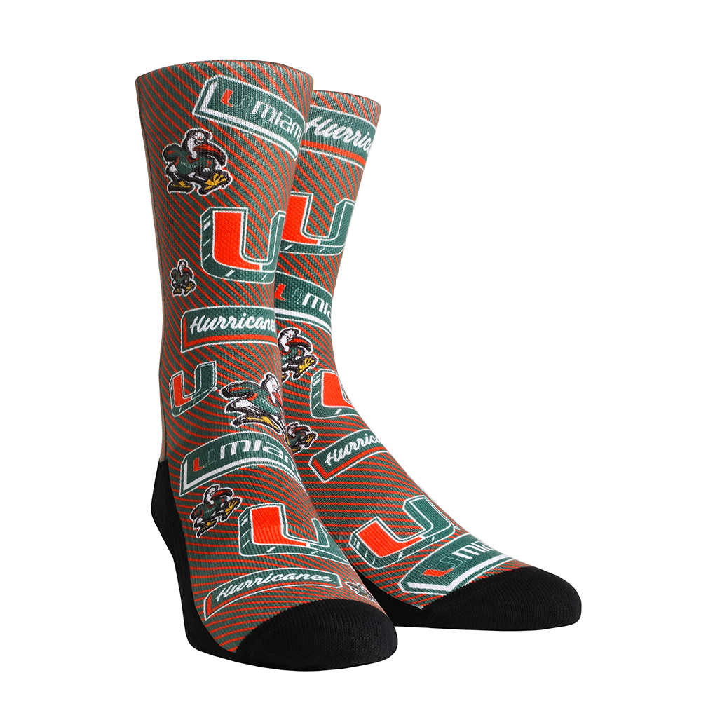 Miami Hurricanes Rock'em Sticker Statement Crew Socks