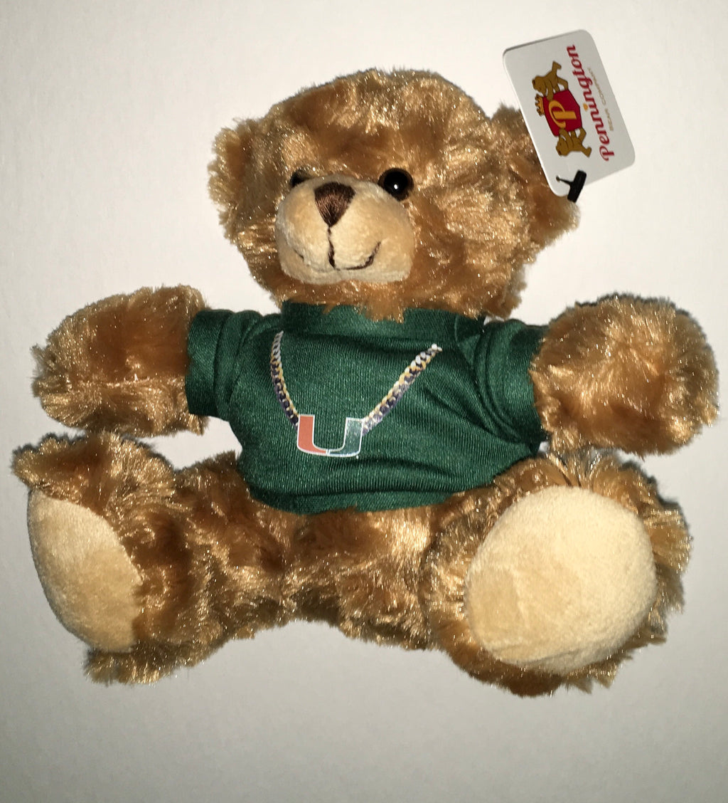 "Miami Hurricanes Plush Bear Mocha 6"" Green Turnover Chain"