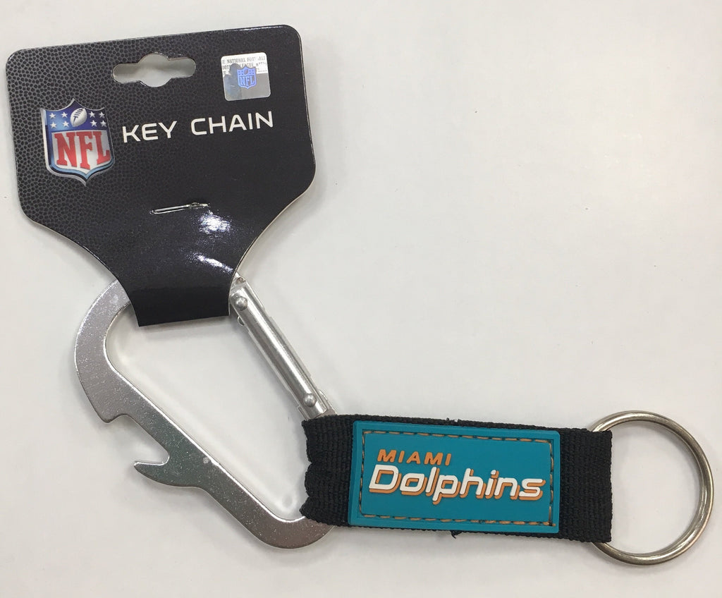 Miami Dolphins Bottle Opener Carabiner Keychain