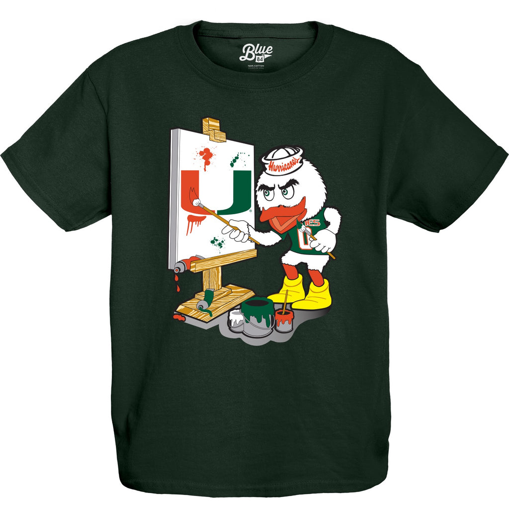 Miami Hurricanes Youth Sebastian Painting T-Shirt - Green