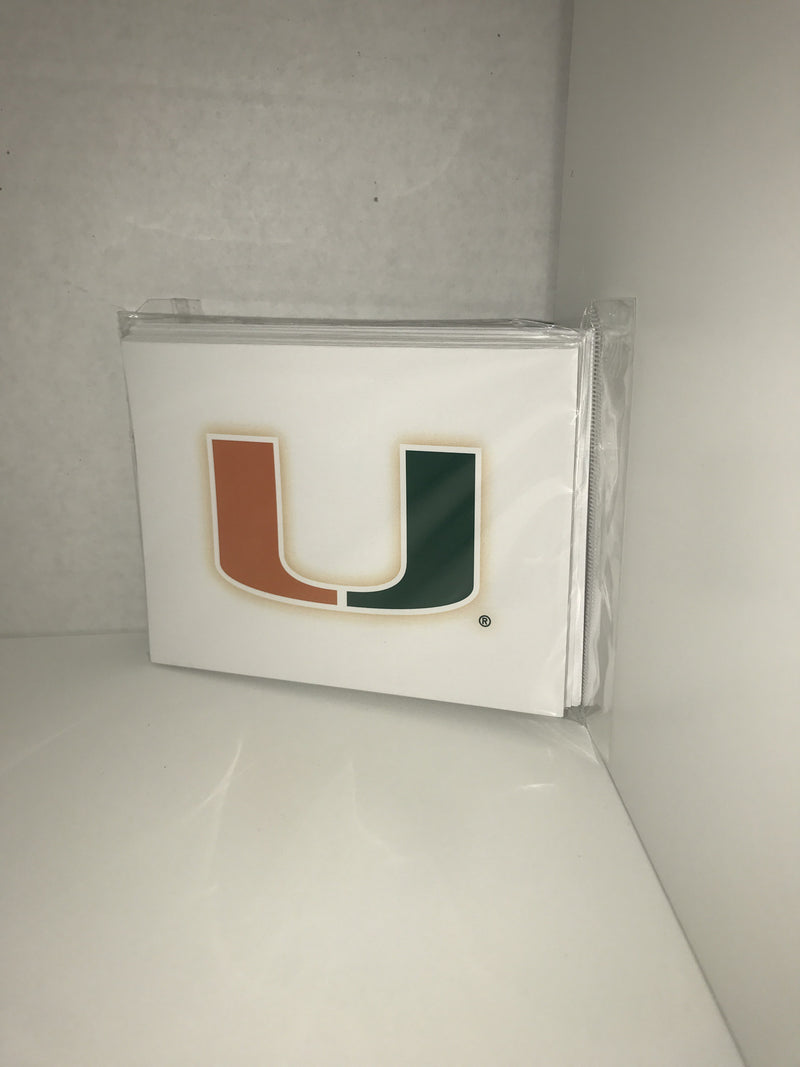 Miami Hurricanes U Note Cards - 10 pack - CanesWear at Miami FanWear  The Fanatic Group CanesWear at Miami FanWear