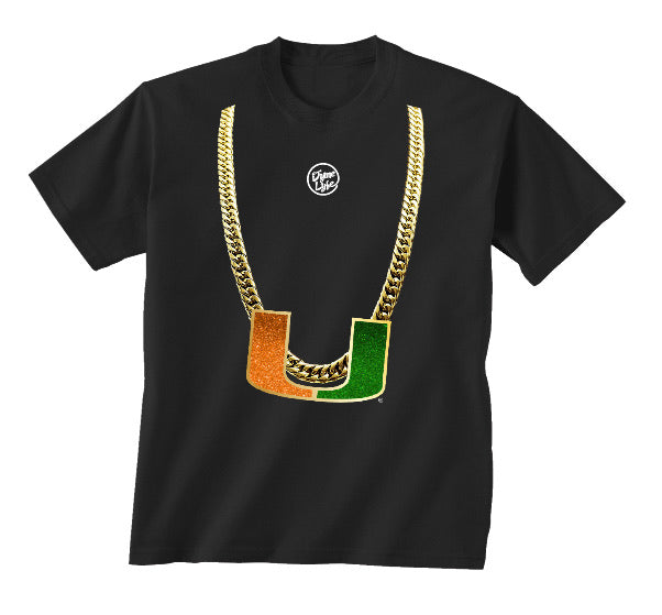 Miami Hurricanes Dyme Lyfe Youth Turnover Chain Shirt -Black
