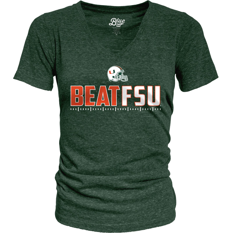 Miami Hurricanes Women's  Beat FSU Tri-Blend T-Shirt - Green