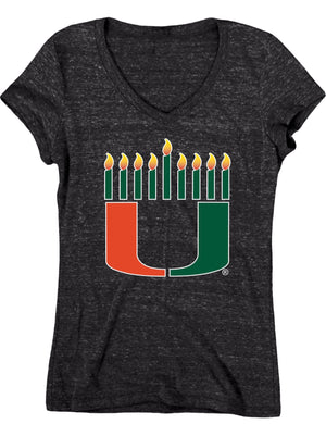 Miami Hurricanes Women's Hanukkah Tri-Blend Shirt - Black