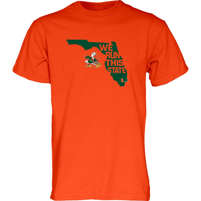 Miami Hurricanes We Run This State T-Shirt - Orange