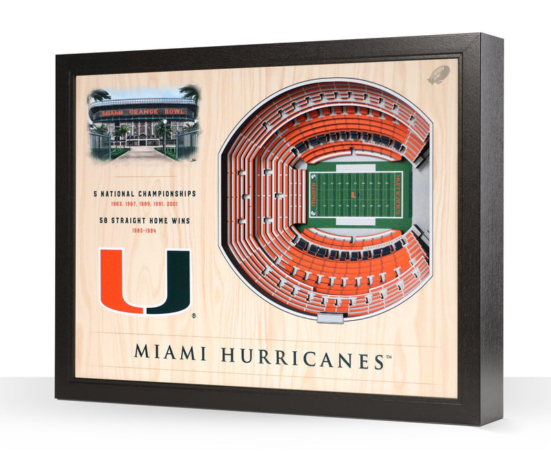Miami Hurricanes Orange Bowl 25-Layer StadiumView 3D Wall Art