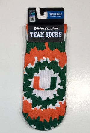 Miami Hurricanes Toddler Tie Dye Ankle Socks Size 6-11