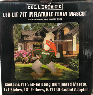Miami Hurricanes LED Lit 7 Foot Inflatable Sebastian Ibis Mascot - 7 Foot