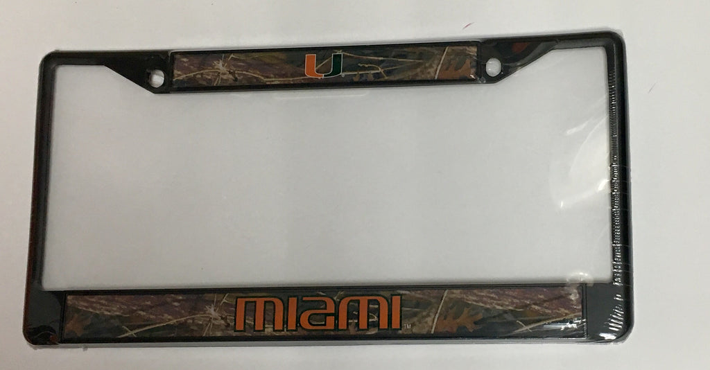 Miami Hurricanes Real Tree Camo Metal License Tag Plate Frame - Black