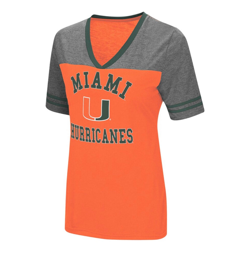Miami Hurricanes Colosseum Women's THE WHOLE PACKAGE T-SHIRT - Orange/Heather/Grey