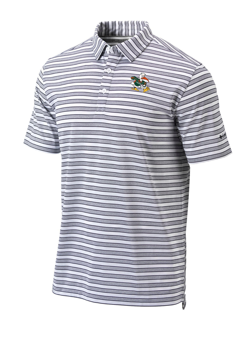 Miami Hurricanes  Columbia Omni-Wick Members Polo - White/Grey