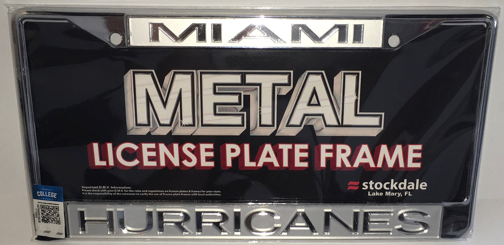 Miami Hurricanes Metal Frost License Plate Frame