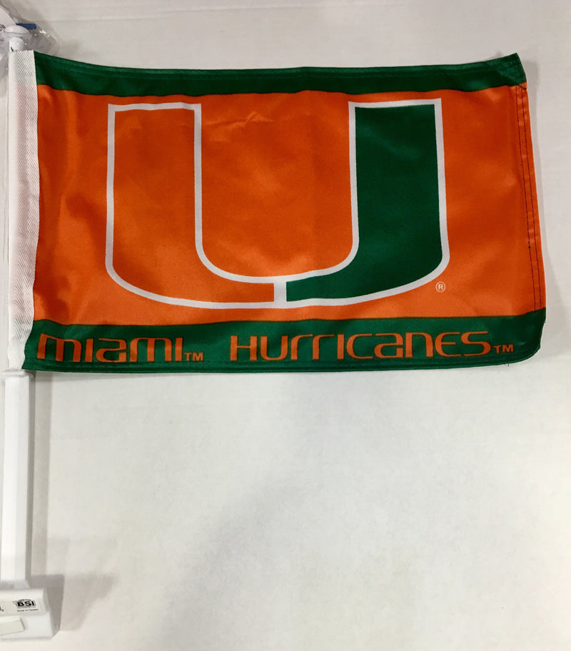 Miami Hurricanes Car Flag W/Wall Bracket