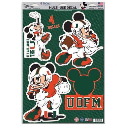 "Miami Hurricanes 11"" x 17"" Multi-Use Mickey Decals"