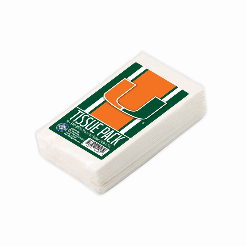 Miami Hurricanes Tissue Pack 3-Ply White Unscented