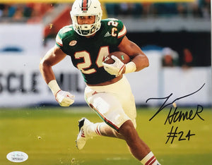 Autographed Travis Homer 8x10 Photo- Green Jersey